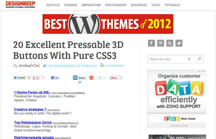 20 Excellent Pressable 3D Buttons With Pure CSS3