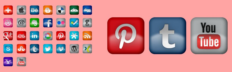Social Icons Rounded and Glossy v1