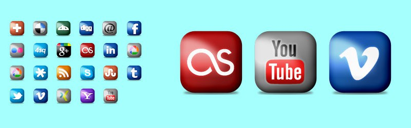 Social Icons Rounded and Glossy v2