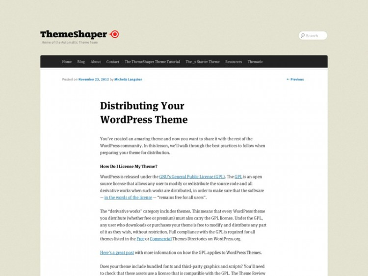 Distributing Your WordPress Theme