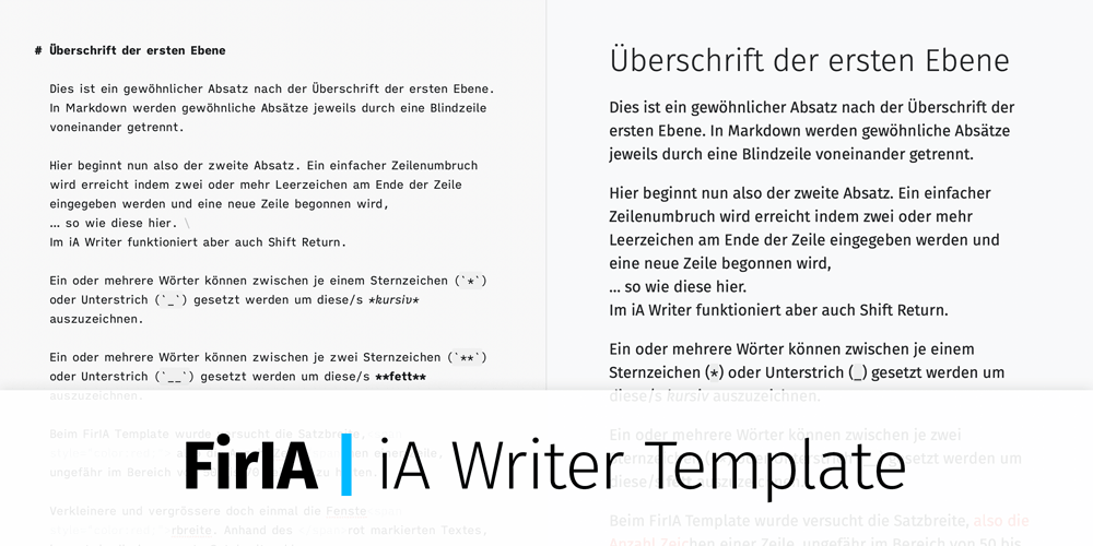 FirIA | iA Writer Template. Screenshot.